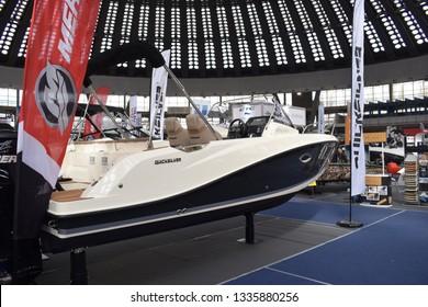 Belgrade, Serbia - March 05, 2019 Boat Quicksilver 675 Sundeck. Nautic show and boat exibition in Belgrade.