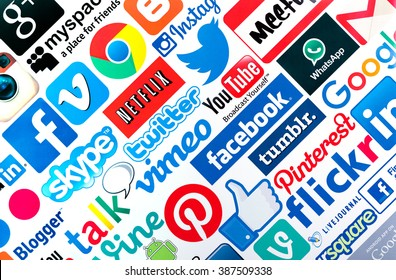 BELGRADE, SERBIA - MARCH 08 2016 : Popular social media icons such as Facebook, Twitter, Google, You tube, Vimeo, Blogger, Linkedin, Tumblr, Myspace and others, printed on white paper