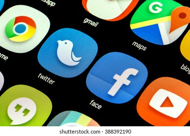 BELGRADE, SERBIA - MARCH 08 2016 : Popular social media icons Facebook, Whats app, Twitter, Google, You tube, and others on smart phone screen