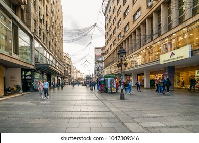 Belgrade, Serbia - March 12, 2018. People walks at Knez Mihailova (english: Prince Michael) Street in Belgrade city