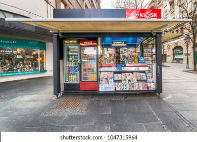 Belgrade, Serbia - March 12, 2018: Newspapers on newsstand in serbian capital Belgrade.