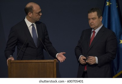 Belgrade, Serbia. March 14th 2017 - Official visit of Italian Foreign Minister Angelino Alfano to Serbia. Joint Press Conference of Serbian Foreign Minister Ivica Dacic with Minister Alfano