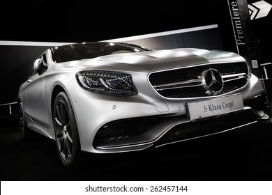 Belgrade, Serbia - March 19, 2015: MERCEDES S63 AMG Luxury Sports Coupe presented at Belgrade 52nd International Motor Show - MSA (OICA), press day.