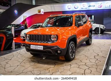 Belgrade, Serbia - March 19, 2015: Jeep Renegade presented at Belgrade 52nd International Motor Show - MSA (OICA), press day.