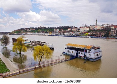 BELGRADE, SERBIA, MARCH 20, 2016: View of the old part of Belgrade, and the flood of the river Sava, Belgrade, Serbia.
