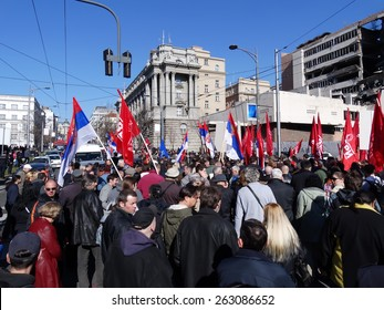 BELGRADE, SERBIA - MARCH 21 2015, a mass of people, walking in the street and protesting, against European Union, NATO and corrupted politicians