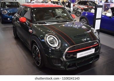 BELGRADE, SERBIA - MARCH 22, 2018 Car Show Mini Coupe John Cooper Works