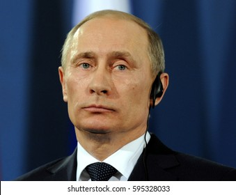 BELGRADE, SERBIA - MARCH 23, 2011: Russian president Vladimir Putin speaks at press conference during official visit to Serbia, on March 23rd, 2011 in Belgrade