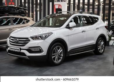 Belgrade, Serbia - March 23, 2017: New Hyundai Santa Fe presented at Belgrade 53th International Motor Show - MSA (OICA).