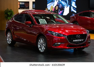 Belgrade, Serbia - March 23, 2017: New Mazda 3 presented at Belgrade 53th International Motor Show - MSA (OICA).