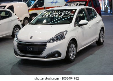 Belgrade, Serbia - March 23, 2018: New Peugeot 208 presented at Belgrade Car Show