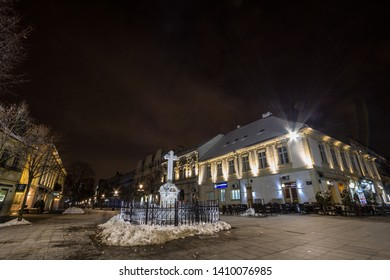 BELGRADE, SERBIA - MARCH 23, 2018: Veliki trg, the main square of Zemun, at night in winter. Zemun is a suburb of Belgrade,  a touristic landmark famous for its Austro hungarian architecture