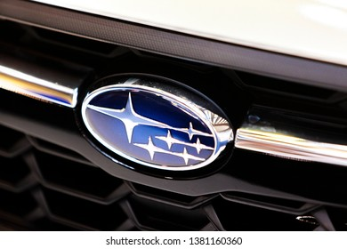 BELGRADE, SERBIA - MARCH 23, 2019: Detail of the Subaru car in Belgrade, Serbia. Subaru is the automobile manufacturing division of Japanese Fuji Heavy Industries founded at 1953.