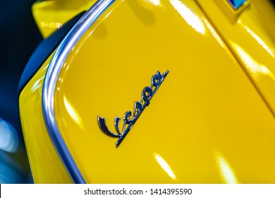 BELGRADE, SERBIA - MARCH 23, 2019: Detail of the Vespa GTE 300 Super HPE scooter in Belgrade, Serbia. Vespa Vespa is an Italian brand of scooter manufactured by Piaggio, founded at 1946.