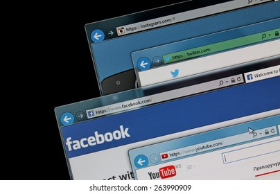 BELGRADE, SERBIA - MARCH 25 2015, social media web sites on a computer screen, Facebook, Twitter, Youtube and Instagram. Social media sites are the most visited web sites in the world