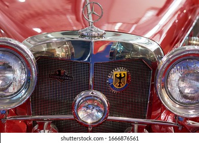 Belgrade / Serbia - March 25, 2017: Old timer red Mercedes car displayed at Belgrade Car and Motor Show 2017