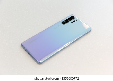 Belgrade, Serbia - March 27, 2019: Newly launched Huawei P30 Pro mobile smartphone, rear side, is displayed on isolated white background. Flagship gadget with Leica camera.