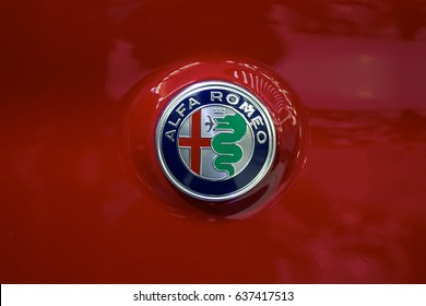 BELGRADE, SERBIA - MARCH 28, 2017: Detail of the Alfa Romeo car. Alfa Romeo Automobiles is Italian car manufacturer, founded in Milan.