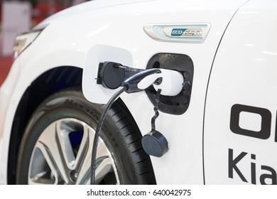 BELGRADE, SERBIA - MARCH 28, 2017: Detail of the Kia hybrid car. Kia Motor Corporation is South Korea second largest automobile manufacturer