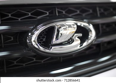 BELGRADE, SERBIA - MARCH 28, 2017: Detail of the Lada car in Belgrade, Serbia. Lada is a brand of cars manufactured by the Russian car manufacturer AvtoVAZ.