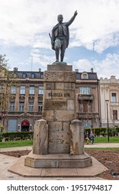 Belgrade, Serbia - March 28, 2021: Monument to Vojvoda Vuk is a sculpture in the Park Spring in Belgrade. The sculpture was created by Djordje Jovanovic in 1922 and the monument was erected in 1936.