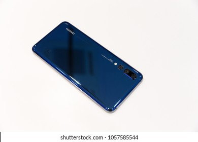 Belgrade, Serbia - March 29, 2018: Newly launched Huawei P20 Pro Smartphone, rear side, is displayed on isolated white background.