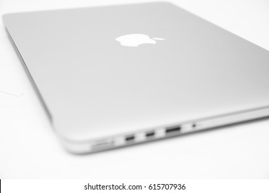 BELGRADE, SERBIA - MARCH 3, 2017: MacBook computer isolated on white. The MacBook is a brand of notebook computers manufactured by Apple Inc.