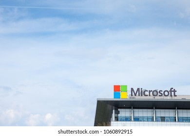 BELGRADE, SERBIA - MARCH 30, 2018: Microsoft logo on their main office for Serbia (Microsoft Development Center). Microsoft Corporation one of the main softwares manufacturers