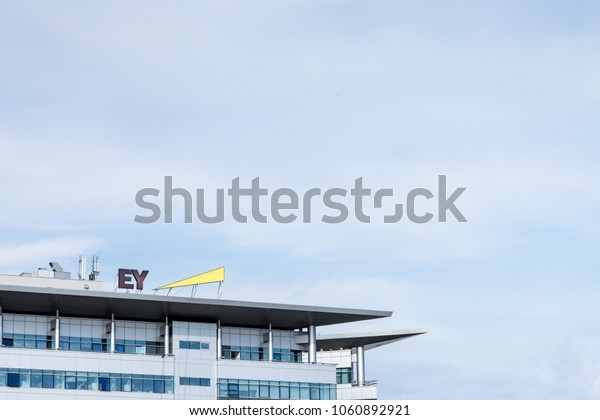 BELGRADE, SERBIA - MARCH 30, 2018: Ernst and Young (EY) logo on their main office for Serbia. EY is one of the leading companies in Business Services, audit, tax advice and accounting