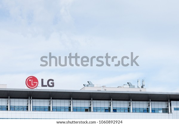 BELGRADE, SERBIA - MARCH 30, 2018: LG Electronics logo on their main office for Serbia. LG is one of the leading companies in IT and Telecom technology, as well as electronic appliances