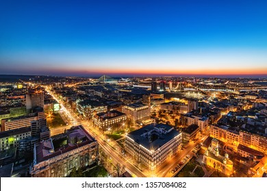 "Belgrade, Serbia March 31, 2019: Panorama of Belgrade at night. ""Kneza Milosa"" Street, Buildings of the Government of Serbia, Waterfront Belgrade, Sava river and bridges."