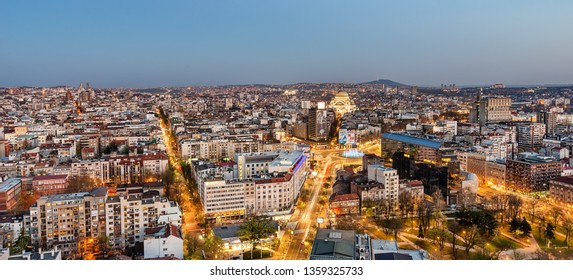 Belgrade, Serbia March 31, 2019: Panorama of Belgrade at night. The photo shows the Slavija Square, the Belgrade municipality of Vracar, the temple of St. Sava and the narrow center of the city.