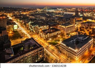 "Belgrade, Serbia March 31, 2019: Panorama of Belgrade at night. ""Kneza Milosa"" Street, Buildings of the Government of Serbia, Waterfront Belgrade, Sava river and bridges."