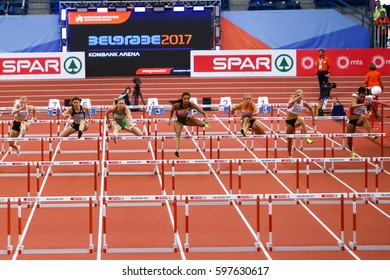 BELGRADE, SERBIA - MARCH 3-5, 2017: Pentathlon Women 60m Hurdles NAFISSATOU THIAM, European Athletics Indoor Championships in Belgrade, Serbia
