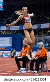 BELGRADE, SERBIA - MARCH 3-5, 2017: Woman Long Jump, KLISHINA Darya, European Athletics Indoor Championships in Belgrade, Serbia