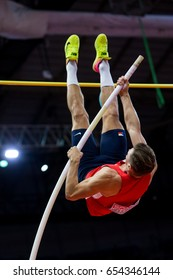 BELGRADE, SERBIA - MARCH 3-5, 2017: Pole Vault Heptathlon, HELCELET Adam Sebastian, European Athletics Indoor Championships in Belgrade, Serbia