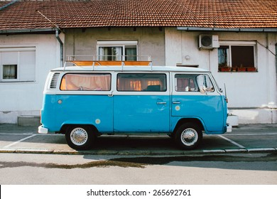 BELGRADE, SERBIA - MART 29: German VW Camper van on parking place visiting Belgrade