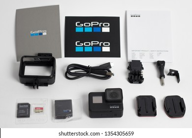 Belgrade, Serbia - Mart, 30 2019: GoPro Hero 7 Black action camera with accessories isolated on the white background.