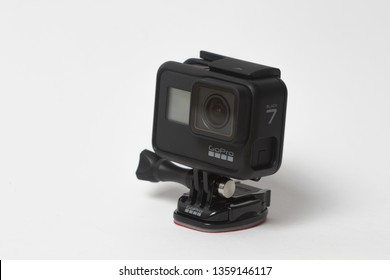 Belgrade, Serbia - Mart, 30 2019: GoPro Hero 7 Black action camera with the frame isolated on the white background.