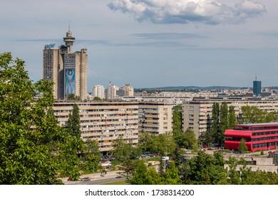 BELGRADE, SERBIA - MAY 03, 2019: Skyline of New Belgrade with the Genex Tower, Western Gate.