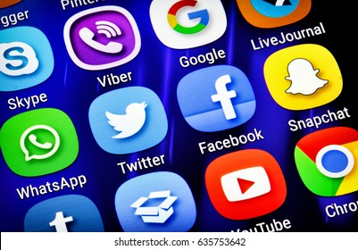 Belgrade, Serbia - May 08, 2017: Popular social media icons such as: Facebook, Twitter, Google, Snapchat, Youtube, Whatsap, Viber, Skype and others on smart phone screen
