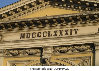 Belgrade / Serbia - May, 12th, 2018: The Roman numbers (above the main entrance) of year when the old railway station was built.