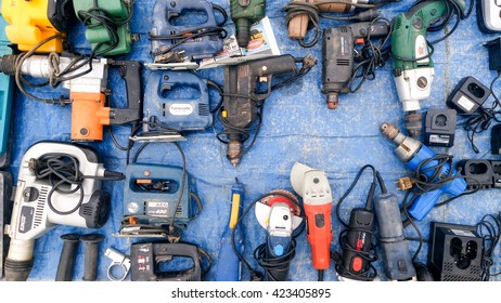 BELGRADE, SERBIA - May 15, 2016: Tools and other construction materials market. Various tools. Lot of drills and drilling machines