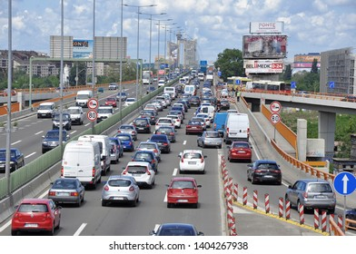 BELGRADE, SERBIA - May 19, 2019. Traffic on Mostar crossroads (Mostarska petlja) that connects the old part of the city with New Belgrade over the Gazelle bridge and Sava river.