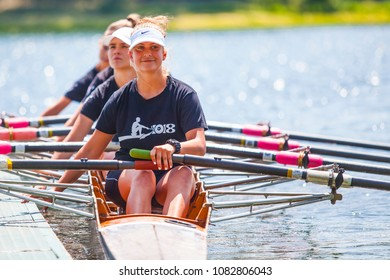 Belgrade, Serbia - May 2, 2018; Athletes on a Serbian Cup Rowing Competition rowing