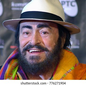 Belgrade, Serbia - May 20, 2005: Luciano Pavarotti smiles after press conference one day before his concert