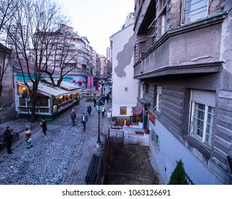Belgrade, Serbia, May 2017, famous bohemian street Skadarlija, famous touristic site at sunset