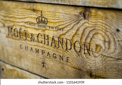 Belgrade, Serbia, May 2018 - Moet and Chandon Champagne sign on the wooden plate
