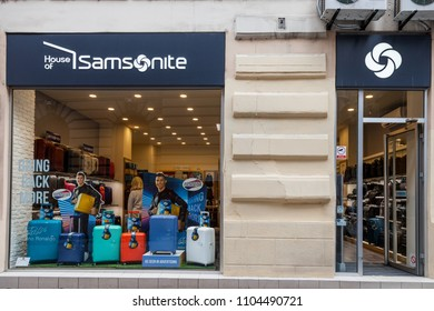 BELGRADE, SERBIA - MAY 21, 2018: Samsonite logo on their shop in Belgrade. Samsonite International is an American luggage manufacturer and retailer