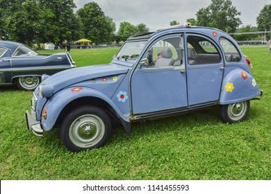 Belgrade, Serbia - May 24 2015: Vintage French Citroen 2CV oldtimer car